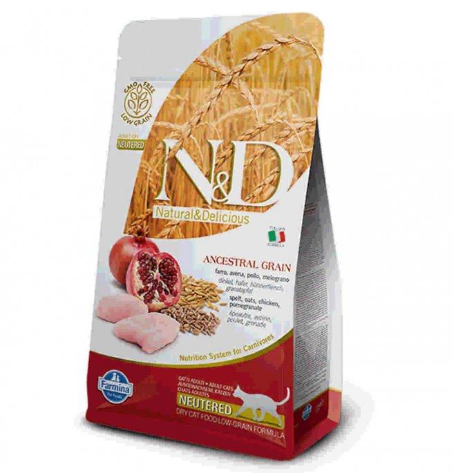 Farmina n&d delicious low grain gatto adult neutered con pollo melograno da 300 gr