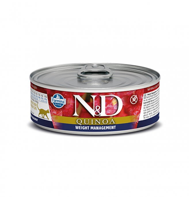 Farmina n&d delicious grain free gatto quinoa weight management da 80 gr in lattina