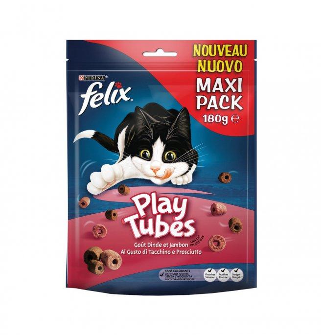 Purina snack gatto felix play tubes al gusto di tacchino e prosciutto da 180 gr