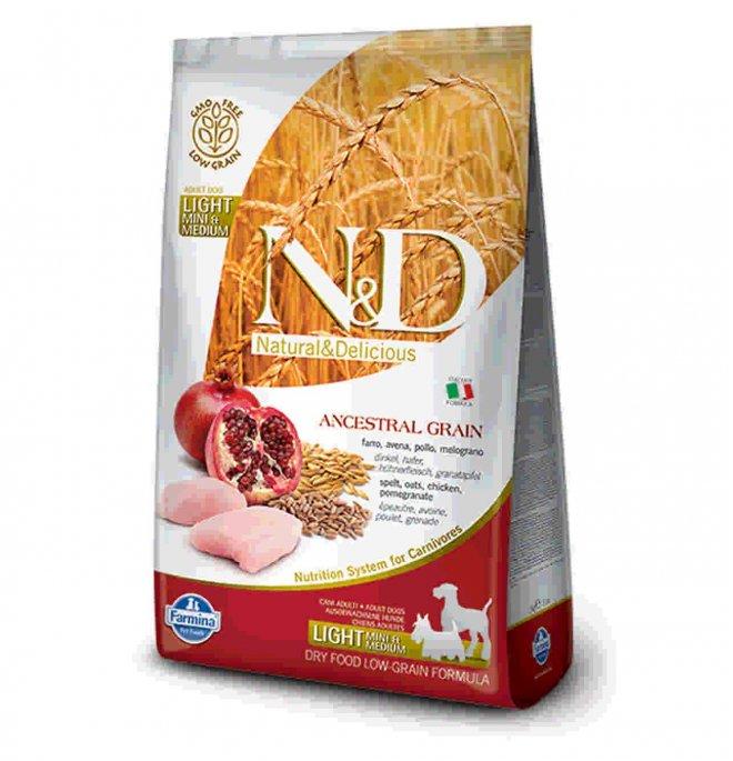 Farmina n&d delicious low grain cane adult mini & medium light con pollo melograno 2,5 kg
