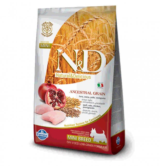 Farmina n&d delicious low grain cane adult mini con pollo melograno da 2,5 kg