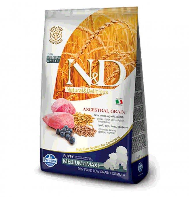 Farmina n&d delicious low grain cane puppy medium & maxi con agnello mirtillo da 12 kg