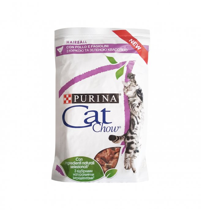 Purina chow cat gatto hairball control al pollo e fagiolini da 85 gr in busta