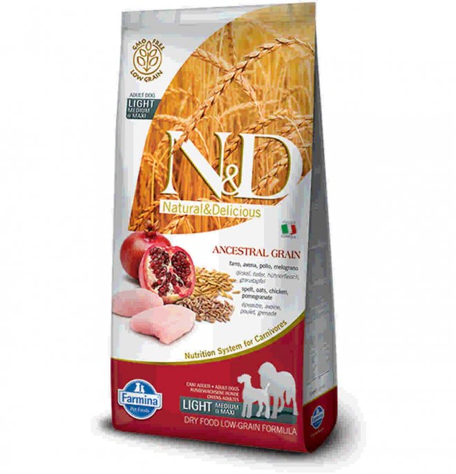 Farmina n&d delicious low grain cane adult medium & maxi light con pollo melograno da 12 kg