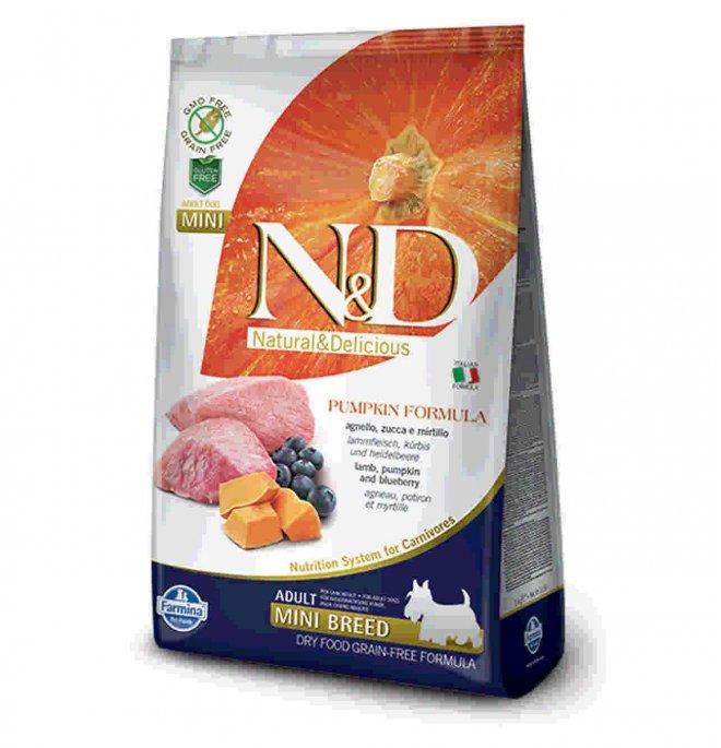 Farmina n&d delicious grain free cane adult mini con agnello zucca mirtillo da 7 kg