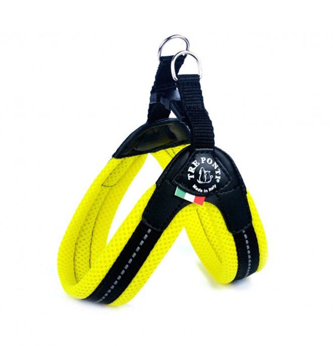 Tre ponti cane pettorina in rete fluo chiusura in plastica misura 3 giallo
