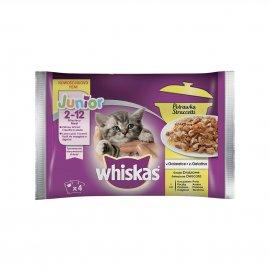 Whiskas gatto straccetti selezione delicata junior 2 - 12 mesi con pollo anatra pollame tacchino 4 buste da 85 gr