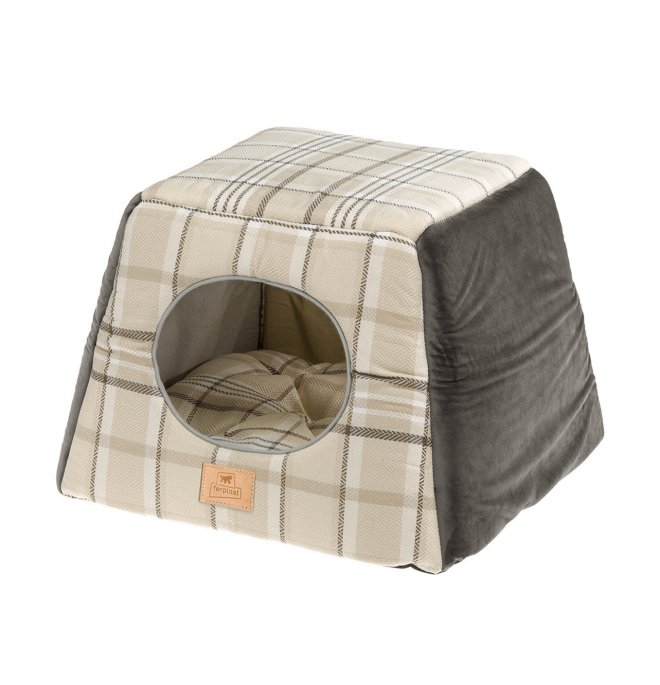 Ferplast cane e gatto casetta edinburgh 44 x 44 x h 33 cm marrone