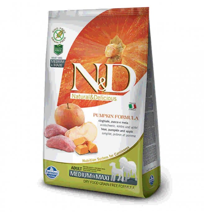 Farmina n&d delicious grain free cane adult medium & maxi con cinghiale zucca mela da 2,5 kg