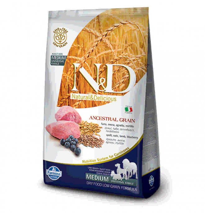 Farmina n&d delicious low grain cane adult medium & maxi con agnello mirtillo da 2,5 kg