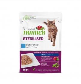 Trainer gatto natural adult sterilizzato con tonno bocconcini in salsa da 85 gr in busta