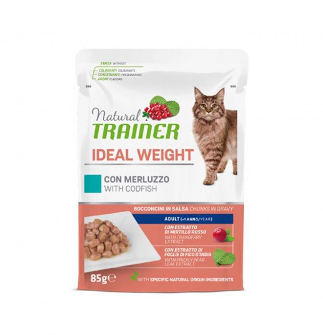 Trainer gatto natural adult ideal weight con merluzzo bocconcini in salsa da 85 gr in busta
