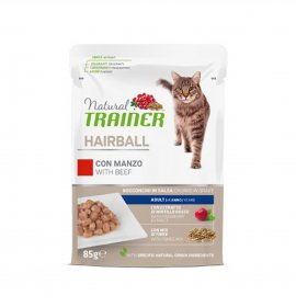 Trainer gatto natural adult hairball con manzo bocconcini in salsa da 85 gr in busta
