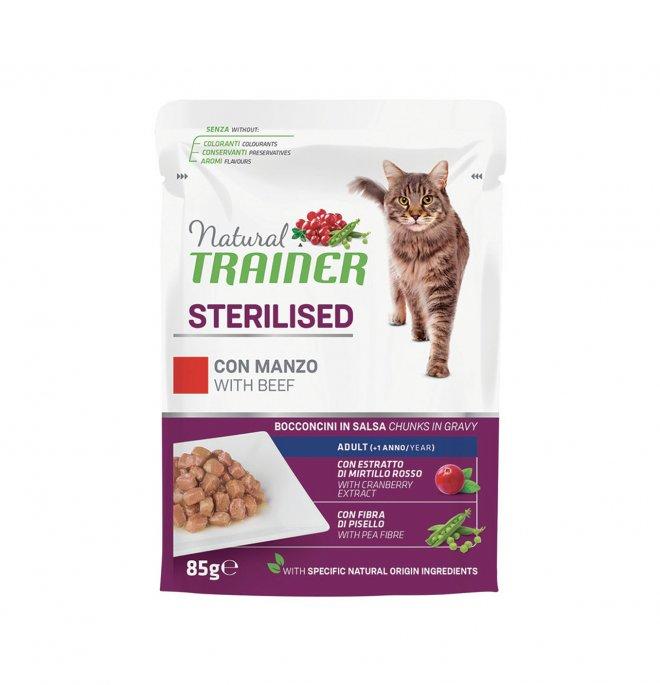 Trainer gatto natural adult sterilizzato con manzo bocconcini in salsa da 85 gr in busta