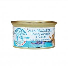 Dalla grana pura natura gatto adult sterilizzato straccetti alla pescatora con tonno, vongole e cozze da 70 gr in lattina