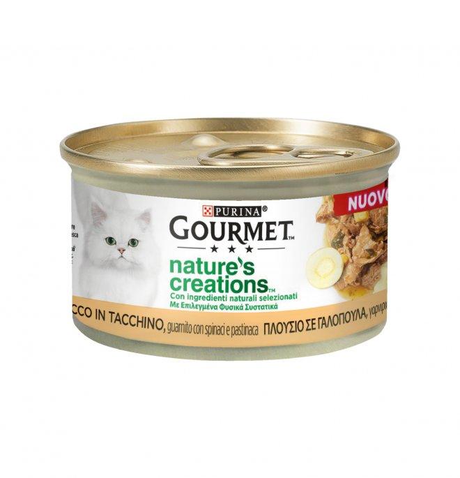 Purina gourmet nature's creations gatto tacchino con spinaci e pastinaca da 85 gr in lattina