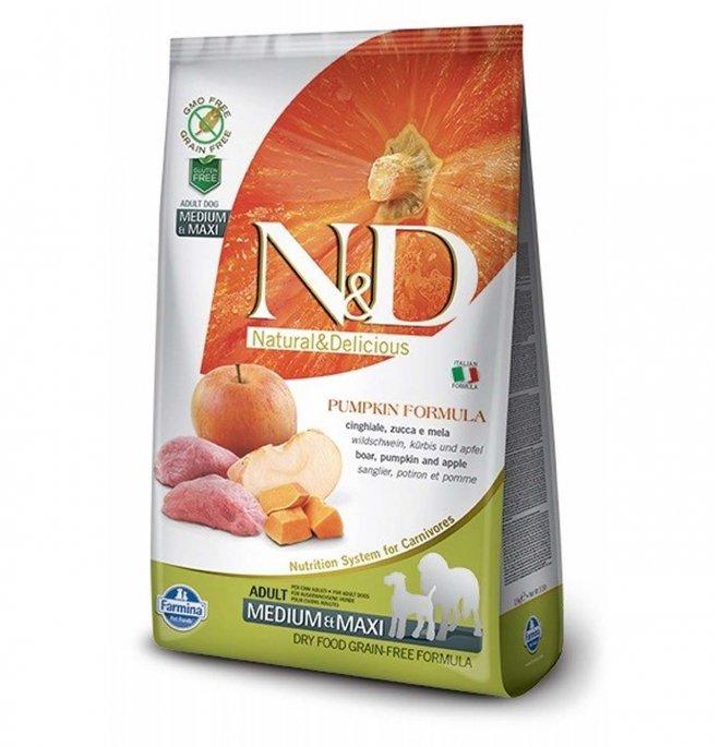 Farmina n&d delicious grain free cane adult medium & maxi con cinghiale zucca mela da 12 kg