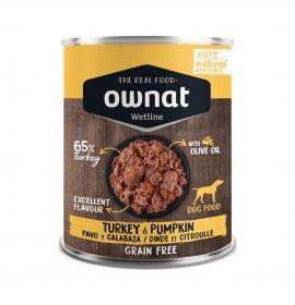 Ownat cane wetline grain free tacchino zucca da 400 gr in lattina