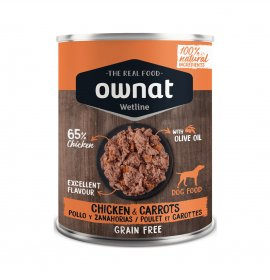 Ownat cane wetline grain free pollo carote da 400 gr in lattina