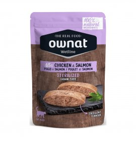 Ownat gatto wetline grain free sterilizzato pollo salmone da 85 gr in bustina