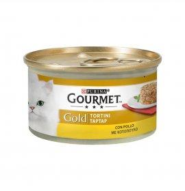 Purina gourmet gold gatto tortini al pollo da 85 gr in lattina