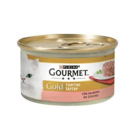 Purina gourmet gold gatto tortini al salmone da 85 gr in lattina