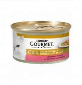 Purina gourmet gold gatto dadini alla trota e verdure da 85 gr in lattina