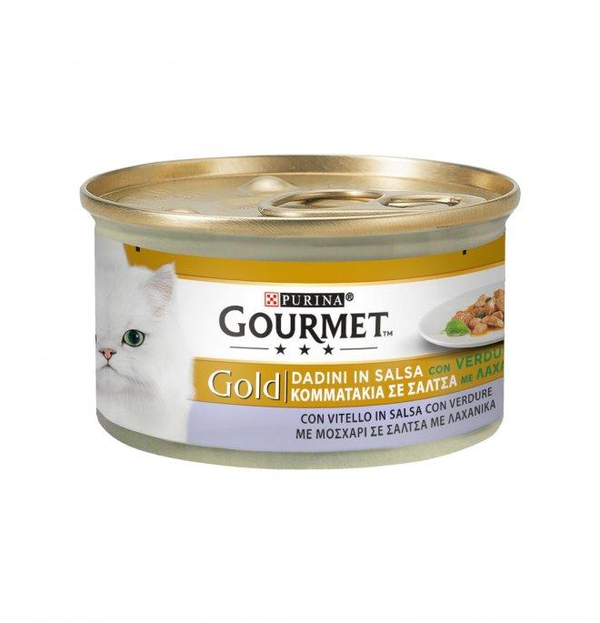 Purina gourmet gold gatto dadini al vitello e verdure da 85 gr in lattina
