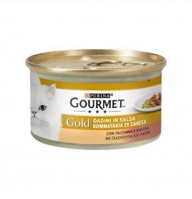Purina gourmet gold gatto dadini al tacchino e anatra da 85 gr in lattina