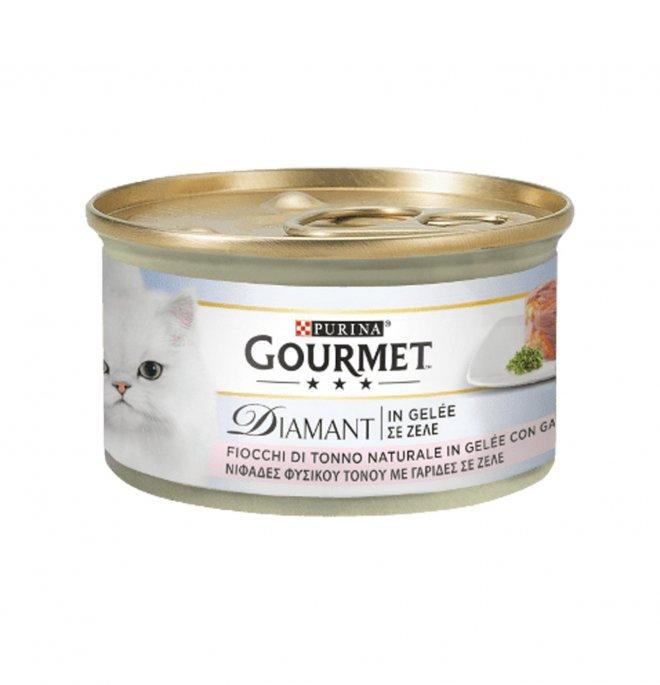 Purina gourmet diamant gatto con tonno e gamberetti da 85 gr in lattina