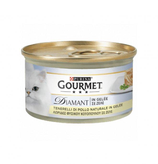Purina gourmet diamant gatto jelly al pollo da 85 gr in lattina