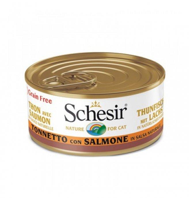 Agras schesir gatto al tonnetto con salmone in salsa naturale grain free da 70 gr in lattina