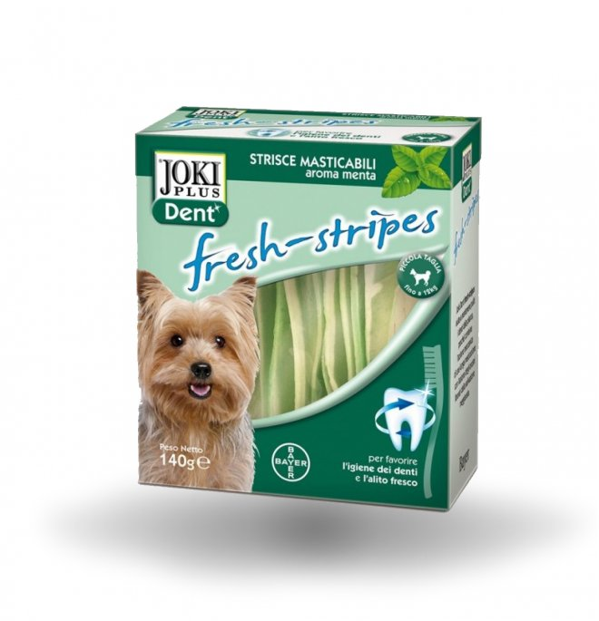 Bayer cane snack joki plus dental fresh stripes taglia piccola media da 140 gr