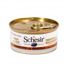 Agras schesir gatto al tonnetto con spigola in salsa naturale grain free da 70 gr in lattina