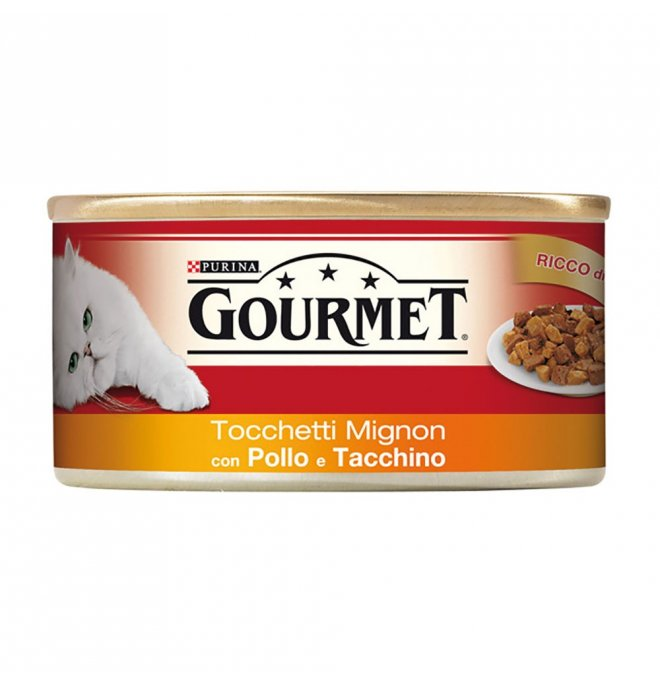Purina gourmet gatto al pollo e tacchino da 195 gr in lattina