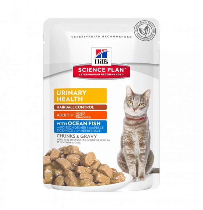 Hill's science plan gatto adult urinary + hairball control al pesce oceanico da 85 gr in busta