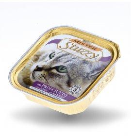 Agras mister stuzzy gatto con prosciutto da 100 gr in vaschetta