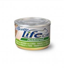 Lifepetcare gatto life cat natural le ricette tonno con pollo e fegatini da 150 gr in lattina