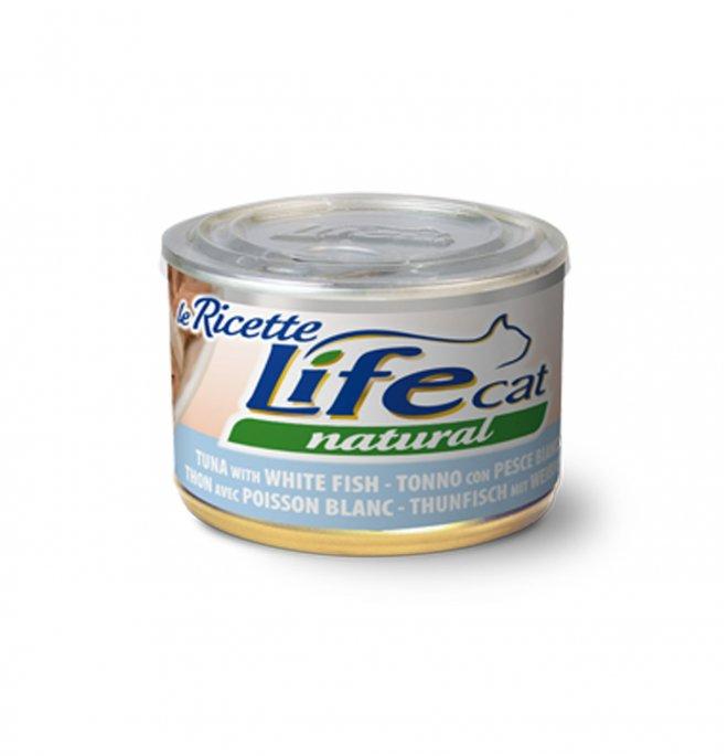 Lifepetcare gatto life cat natural le ricette tonno con pesce bianco da 150 gr in lattina