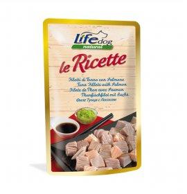 Lifepetcare cane life dog natural le ricette filetti di tonno con salmone da 95 gr in busta