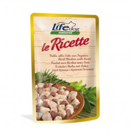 Lifepetcare cane life dog natural le ricette pollo alle erbe da 95 gr in busta
