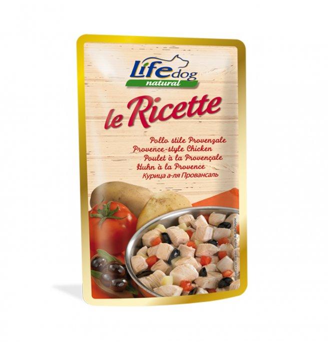Lifepetcare cane life dog natural le ricette pollo stile provenzale da 95 gr in busta