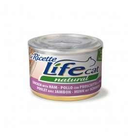 Lifepetcare gatto life cat natural le ricette pollo con prosciutto da 150 gr in lattina