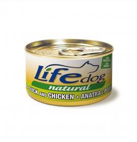 Lifepetcare cane life dog naturale anatra con pollo da 90 gr in lattina