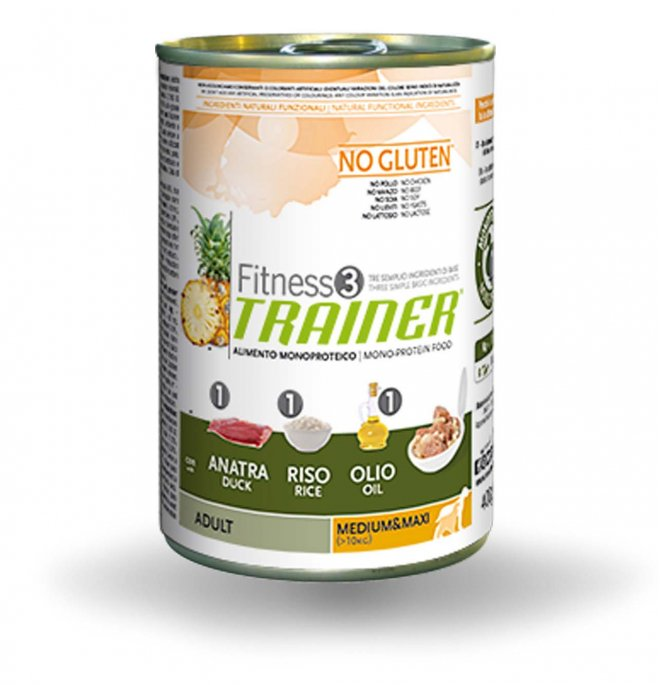 Trainer cane fitness 3 adult medium maxi anatra riso e olio no gluten da 400 gr in lattina
