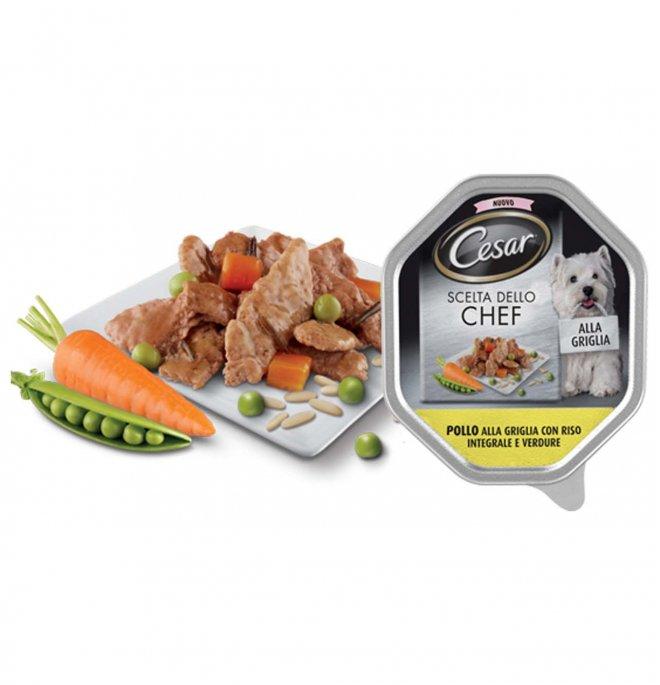 Cesar cane chef al pollo alla griglia con riso integrale e verdure da 150 gr