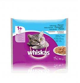 Whiskas gatto 1+ pesce 4 buste da 100 gr