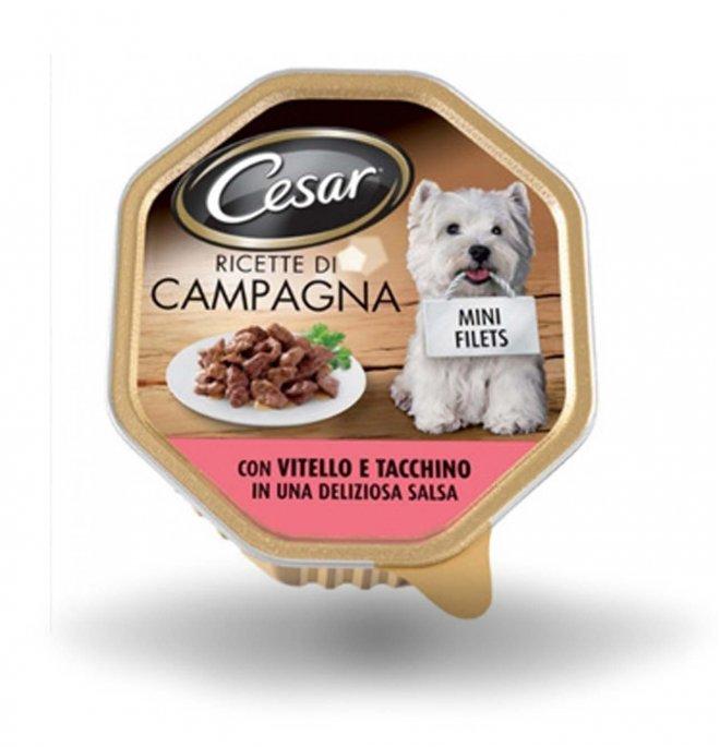 Cesar cane ricette di campagna al vitello e tacchino da 150 gr