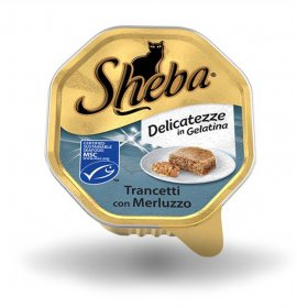 Sheba gatto delicatezze merluzzo in gelatina da 85 gr in vaschetta