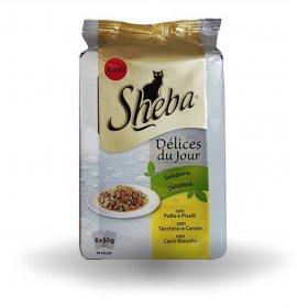 Sheba gatto selezione deliziosa pollo tacchino carni bianche - 2 buste omaggio 6 buste da 50 gr